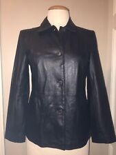 Style & Co. Size Large Leather Jacket ~Coat Satin Lined •NEW• Fitted