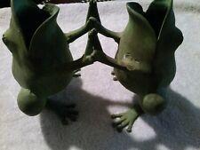 RARE Petite Choses Vintage Metal 2 Singing Frogs Figurines/Vase/Planter, USA