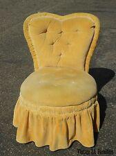 Vtg French Provincial Tufted Yellow Velvet Heart Shaped CHAIR Hollywood Regency