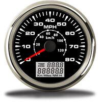 85mm Car Boat Marine GPS Digital Speedometer Gauge 0-80MPH 120Km/h LED Backlight