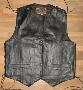 """"""" STARS AND STRIPES """" Lace-Up Leather Vest / Biker IN Black XL Approx. 52/54"""