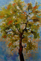 Large Art Canvas Original Acrylic Spring Tree Painting. 24in x 36in by Hunoz