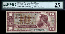 $10 Series 521 Military Payment Certificate Pmg 25 Rare Replacement Only 8 Known