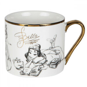 DISNEY COLLECTABLE BELLE FROM BEAUTY AND THE BEAST GOLD RIM MUG FROM WIDDOP & CO