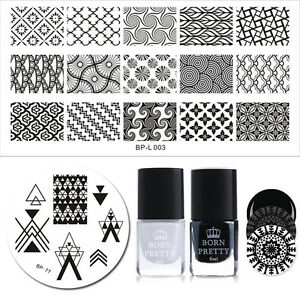 BORN PRETTY Stamping Polish Plate Set Black White Polish oud Nail Art Tool Kit