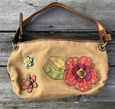 Vintage FOSSIL STRAW WEAVE LEATHER FLOWER PURSE SHOULDER BAG COUNTRY SHOPPING