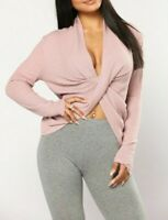 Sweater Waffle Knit Crop Pink Mauve Basic Top Shirt Casual Long Sleeves Small S
