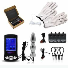 Electro Shock Kit E-Stim Ring Big Electro Sex Plug Gloves Men Therapy Device