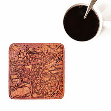 Prague map coaster One piece  wooden coaster Multiple city IDEAL GIFTS