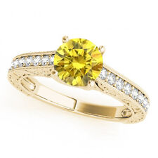 Yellow Canary Color Enhanced VS Diamond Fancy Wedding Ring 14k Yellow Gold