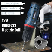 12V  Li-Ion Cordless Electric Hammer Drill Driver Hand Kit 1 Speed w/ LED Light
