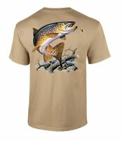 Fishing Brown Trout Adult Short Sleeve T-Shirt
