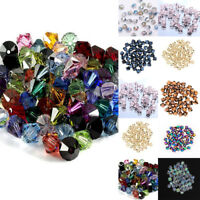 Lots 100Pcs 6mm Faceted Glass Bicone Loose Beads For Crafts DIY Making Supplies