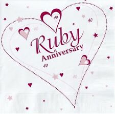 18 x RUBY ANNIVERSARY NAPKINS 33cm 2ply 40 YEARS 40th PARTY TABLEWARE WEDDING