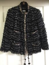 Chanel 06P JACKET TWEED BLACK BLUE GOLD BOWS BRAIDED GOLD CC buttons FR46-44 $7K