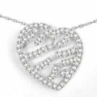 """0.53Ct Round Simulated White Gold Over Sterling Silver Heart Pendant 18"""" Chain"""