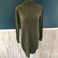 J Crew Cable Knit Turtleneck Sweater Dress Green Wool Blend Womens Size Medium