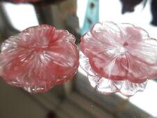 12pc Vintage Genuine Strawberry Quartz Stone Flower Pendants Center Drilled 28mm