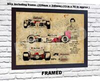Ayrton Senna F1 no signed da Vinci Sketch Art print patent poster gift Framed