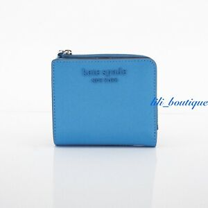 NWT Kate Spade Cameron Monotone Small L-Zip Bifold Wallet Leather Oceanside Blue
