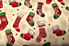 0.5 metre Christmas Stockings - Cream 100% Cotton Fabric 135cm wide