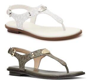 Women MK Michael Kors Plate Thong Flat Buckle Up Sandals Mini MK Logo
