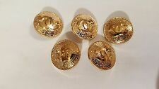 Chanel CC Logo Replacement Metal Gold Buttons 1 inch (24mm) Set of 5