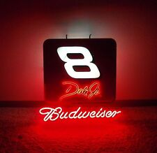 "Budweiser Dale Earnhardt Jr #8 Glass Neon Light Beer Bar Nascar Sign - 30"" x 30"""