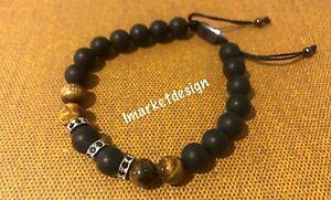 Mens beaded bracelet Black Plus Zircon Brown Onyx, Silver Plated