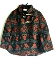 Charlotte Russe Poncho Cape Capelet~ Size M Red Black Aztec Buckle Closure Lined