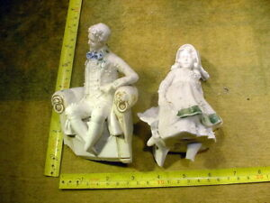 2 x excavated vintage unpainted damaged doll parts German Hertwig age 1890 B 502