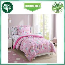 Twin Kids Bedding Set Sheets Girls Comforter Rainbow Unicorn 5 Piece, Pink