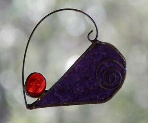 PLUM PURPLE & RED HEART Stained Glass SUNCATCHER + Metal Scrolls Gift Under $20