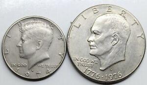 LOTE *2 USA ESTADOS UNIDOS 1974 1/2 DOLLAR Y 1976 1 DOLLAR MONEDA EBC