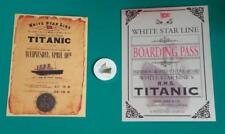 RMS TITANIC  2 x Plaques Sailing Poster Boarding Pass & 1912 coin & Tuvalu Coin