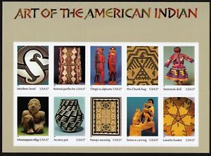 USA Scott# 3873 ART OF THE AMERICAN INDIAN Pane of 10 Stamps - MNH