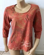 Additions by CHICOS Womens Size 2 Tropical Print Scoop Neck 3/4 Sleeve T Shirt