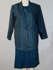 AMI Size 9 Blue 3-Piece Long Sleeve Striped and Solid Skirt Suit