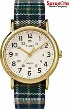Timex Weekender TW2P89500 Off-White Dial Plaid Nylon Quartz Men's Watch