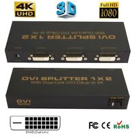 1080P DVI-D 1 X 2 Port Splitter to LCD LED Monitor Box Support Resolution up 4K