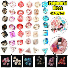 42Pcs Clear Polyhedral Dice Set For Dungeons Dragons DND MTG RPG Game + Bag