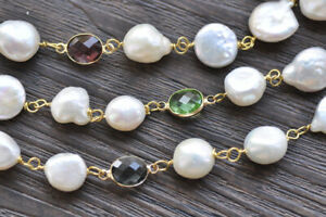 """P7361 3Row 22"""" White Coin Baroque Pearl Faceted Multicolor CZ Necklace"""