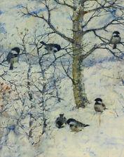 Benson Frank Chickadees In Winter Print 11 x 14  #4171