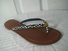 Tory Burch Terra Thong Navy White Patent Leather Dots Women's Size 8.5 M.