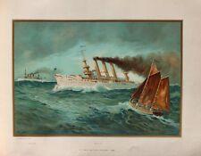 Us Navy crucero cruiser USS New York Brooklyn barco de vapor marine ametralladora Cannon