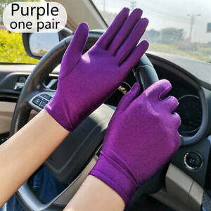 Women Spandex Thin Stretch Mittens Ladies Sun Protection Driving Gloves Outdoor