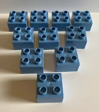Lot of 10 Light Blue LEGO Duplo bricks blocks - 2X2