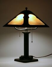 Fine American Arts & Crafts Table Lamp - Circa 1910 - Iron-Copper-Stained Glass