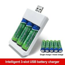 3 Slots Aaa/Aa Battery Charger Usb Fast Charging Adapter Rechargeable Plug Case