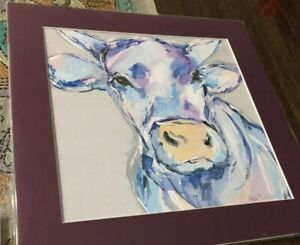 Cow - Original Gouache Painting signed by artist - Unframed